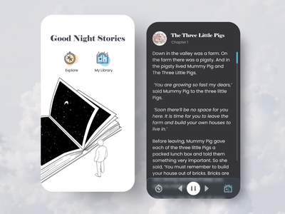 Good Night Stories figma design dark mode audiobook audio player mobile app mobile ui