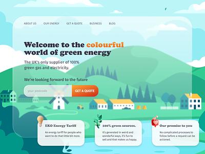 Green energy desktop ui desktop design web design green energy sustainability redesign electricity energy greenery landing page website design