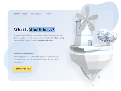 Learn mindfulness 3d webdesign website online education typography desktop design ui design ux landing page education clean minimal