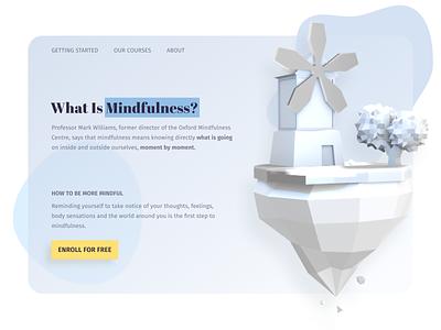 Learn mindfulness 3d webdesign website online education typography desktop design ui design ux landing page education clean minimal