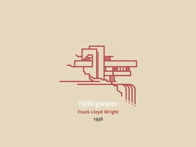 Fallingwater visual illustration graphic design modernism architecture icon