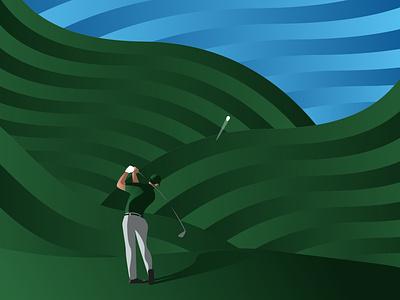 Perfect Drive fairway illustrator illustration vector golf ball golfing golf club golfer golf