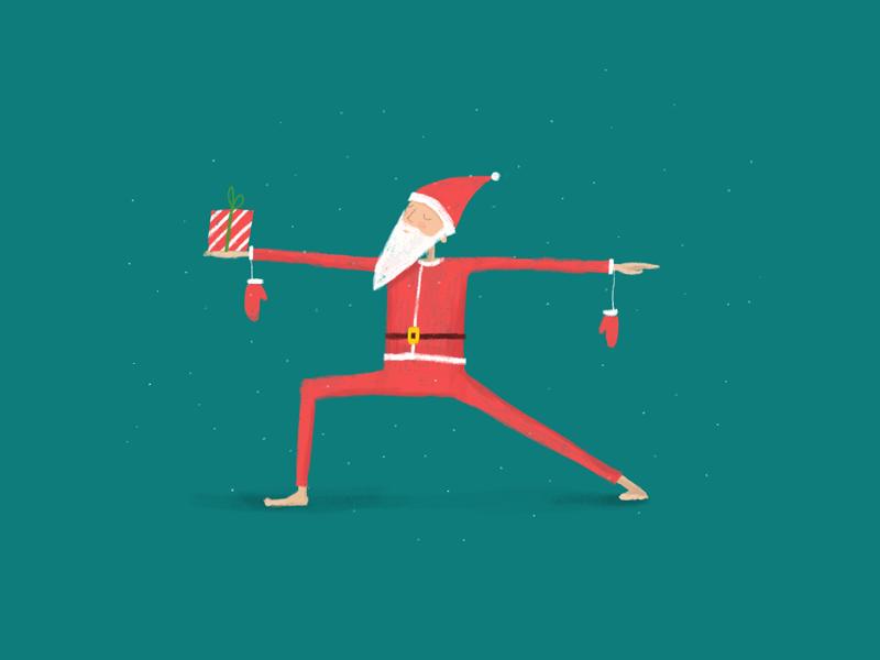 virasantasana 2 yoga illustration card postcard asana christmas new year gift
