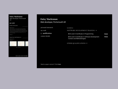 Personal portfolio website - typography based design