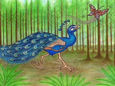 Peacock Chasing Butterfly