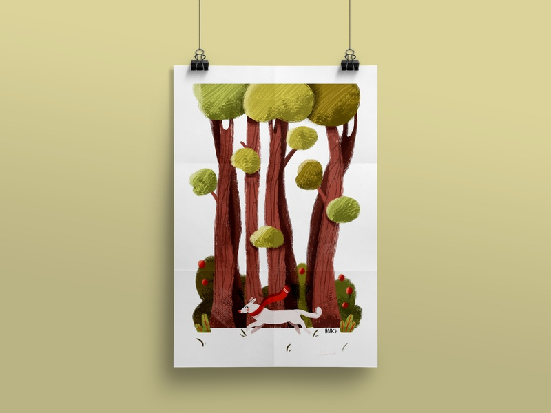 Dog with a red scarf in the forest dog illustration children illustration illustration