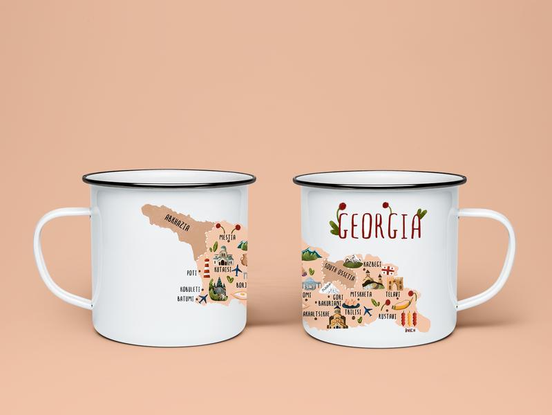 "Mug ""Georgia"" mug design geogria industrial design food design illustration"