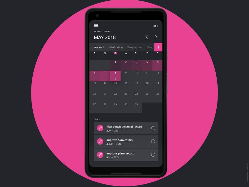 Habit Tracker Application android desires goals tasks calander habit habit tracker application design ux ui