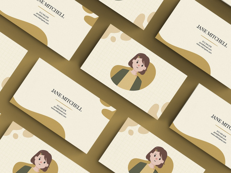 Business Card - Jane fun character cute girl illustration illustration brand design design business card