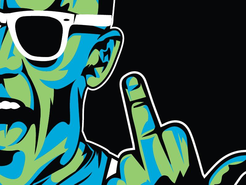 Max 01 vector illustration max hedrom flyer character middle finger blast