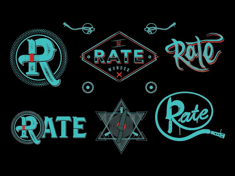 Rate DJ logo exploration logo vector illustration dj hip hop record turntable knife script vintage graffiti