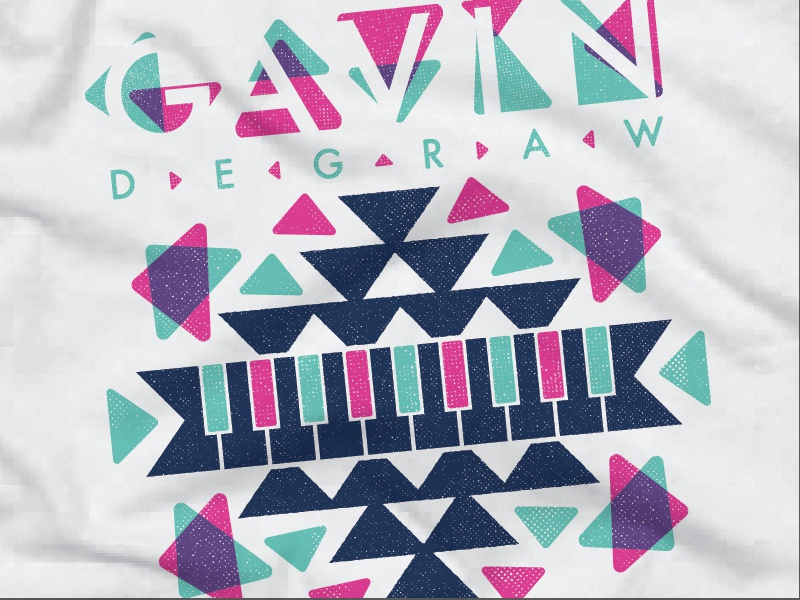 Gd Print 01 tshirt screenprint merch music gavin degraw aztek 80s typography custom type pastel piano geometric