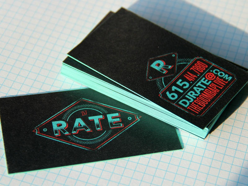 RATE CARDS business card dj hip hop vector illustration typography tiffany record vinyl rate