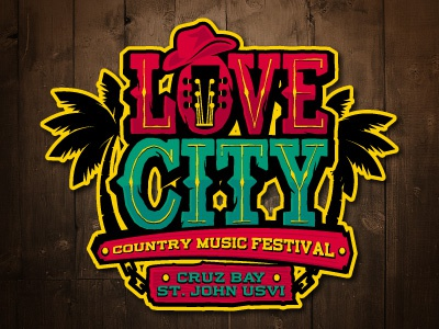 Love City country logo caribbean virgin islands illustration custom type lettering typography event music festival