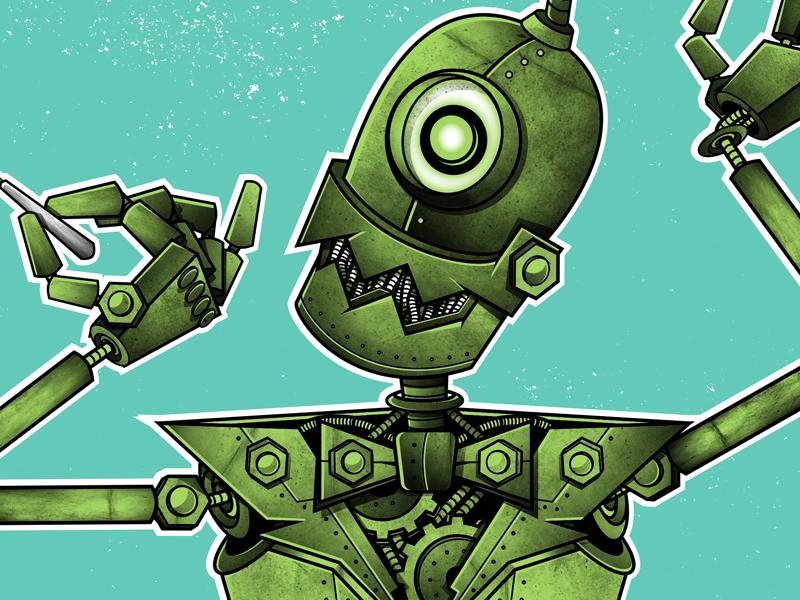 Robutt illustration robot texture poster gig poster merch