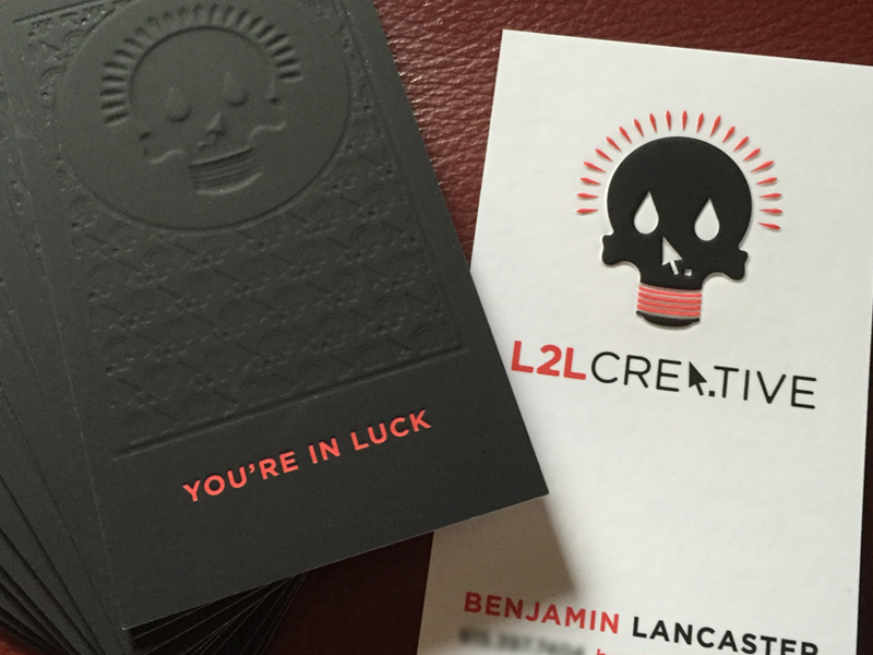 L2L Business Cards luck lightbulb skull identity collateral branding logo deboss emboss printing business cards