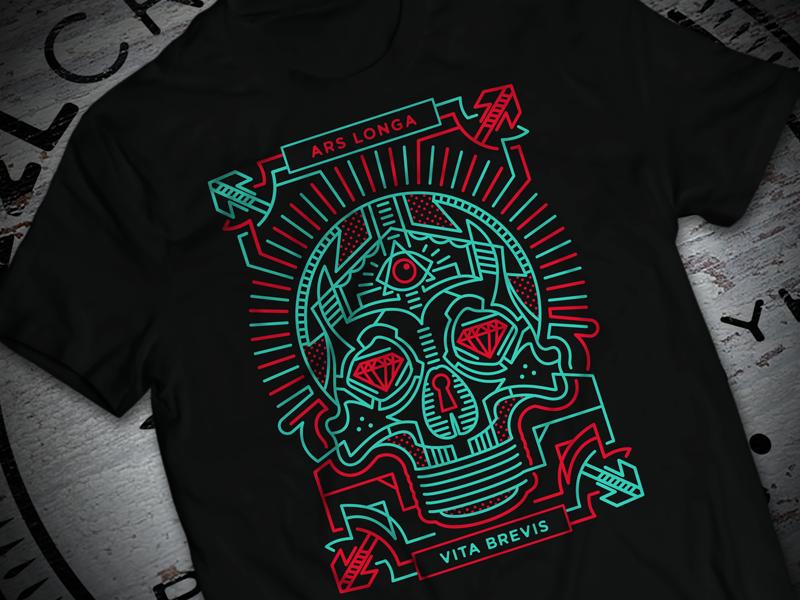 Ars Longa Vita Brevis linework latin lightbulb skull tshirt apparel illustration