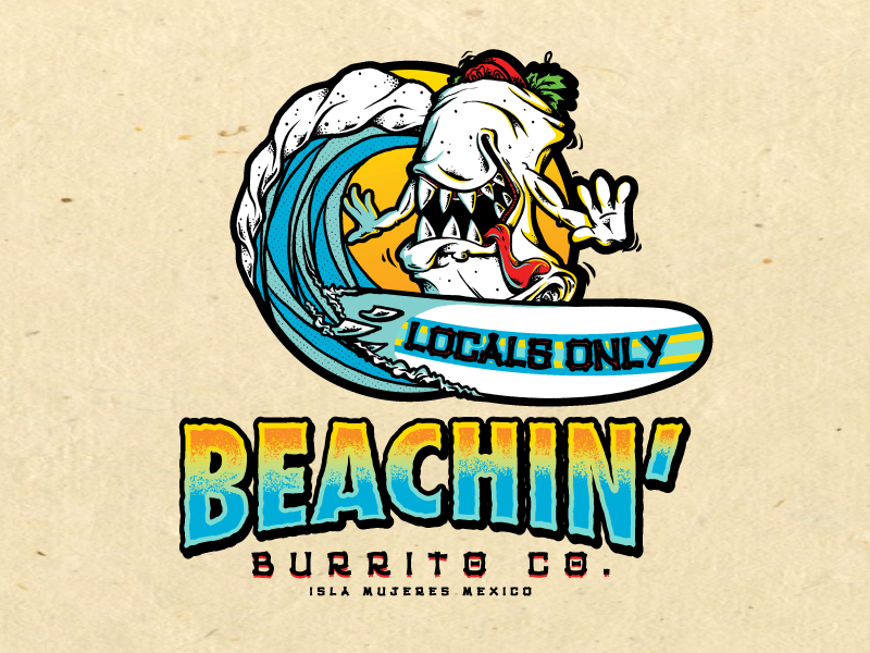 Beachin  Logo illustration character surfing surf beach restaurant restaurant logo mexico tourist locals only burrito logo
