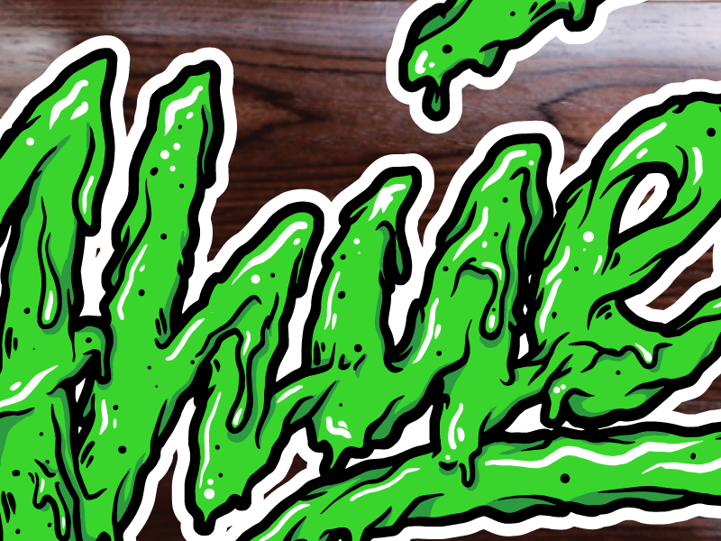 Ahuevo! hand drawn type script custom lettering drippy deck design skateboards illustration vector slime