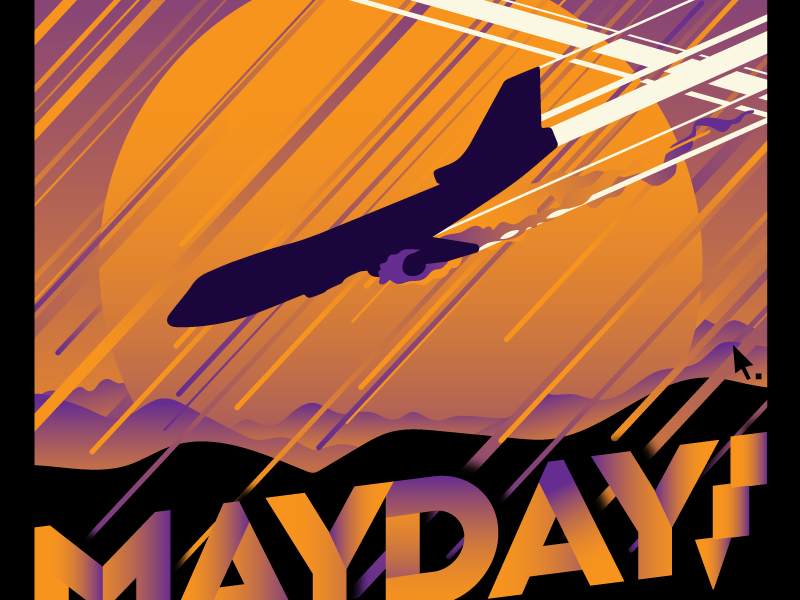 Mayday mayday clouds crash plane art deco gradient vector poster gig poster illustration