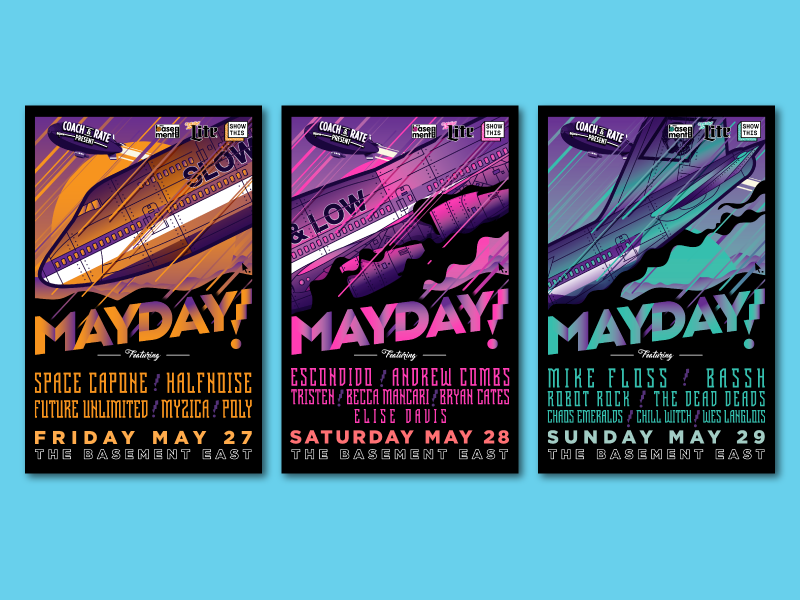 Tryptich music nashville tryptich festival music festival crash plane mayday gigposter poster illustration vector