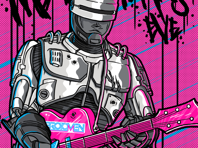 Robo Trippin poster movies 90s 80s pink gig poster robocop illustration drawing