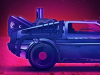 88rpm retro 80s neon texture gig poster space speaker turntable car back to the future chrome illustration
