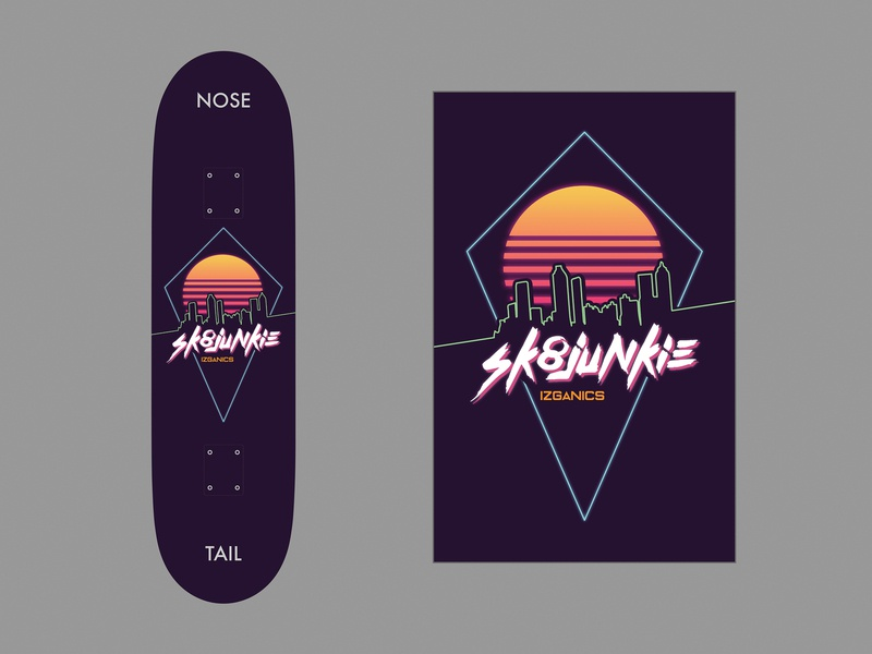 Synthwave-Inspired Skateboard Design adobe illustrator illustrator retrowave retro synthwave synth 80s style 80s skateboarding skateboards skateboard design skateboard graphic design graphic designer designer design graphic