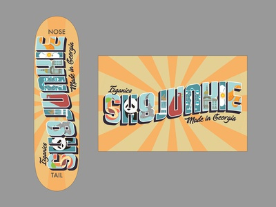 Vintage Postcard-Inspired Skateboard Design