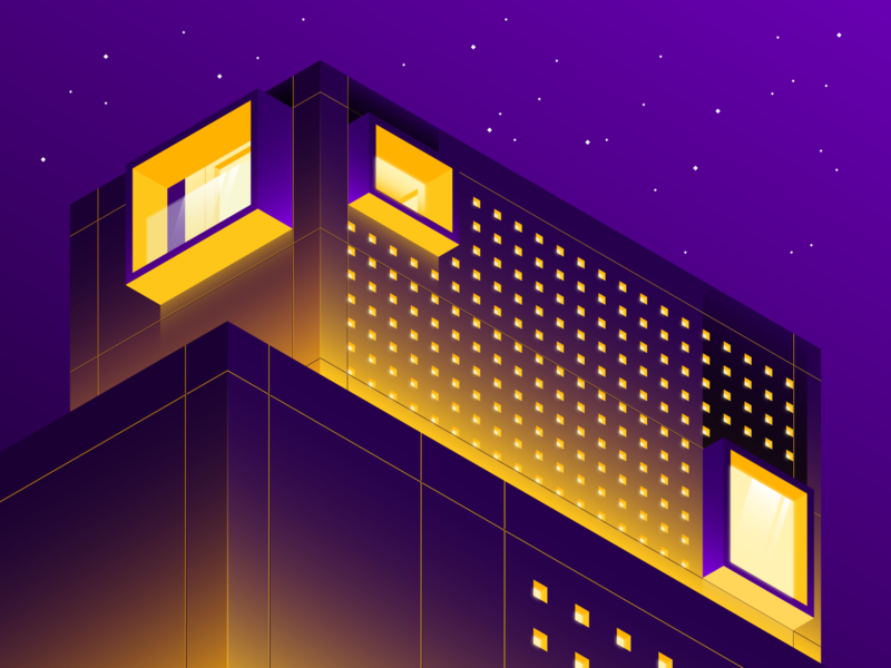 Spencer House - Night sarasota architecture modernist extraordinary homes worlds most extraordinary homes netflix travel isometric illustration stroke gradient illustrator vector