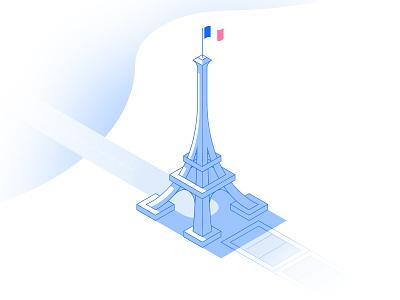 Eiffel Tower isometric gradient vector stroke tower eiffel paris france illustration travel