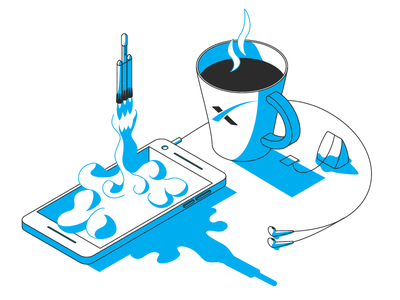 Larger than Live - Falcon Heavy clouds phone isometric vector pixel google mug tea coffee falcon rocket spacex