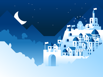 Minas Ithil - Tower of the Moon illustration vector illustrator gradient stars tower moon isildur frodo gandalf mountains landscape tree gondor minas ithil lord of the rings