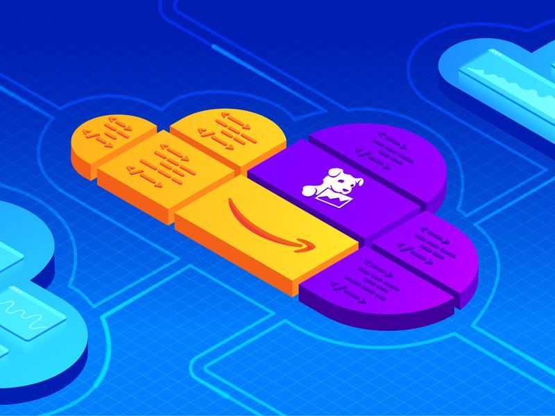 CloudFormation Configuration code metrics agent blueprint amazon cloudformation aws cloud isometric gradient illustrator vector