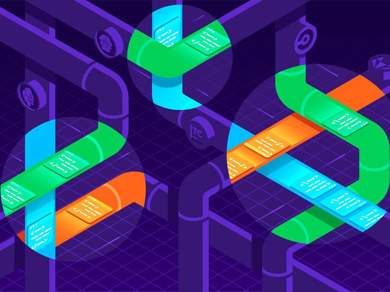 Continuous Integration Pipelines x-ray spotlight continuous flow data pipeline pipes isometric gradient stroke illustrator vector