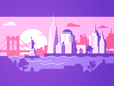 NYC Sunset brooklyn bridge subway arch washington sqaure park chrysler building empire state building wtc east river horizon sunset new york city new york travel illustration gradient illustrator vector