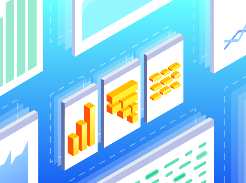 Monitoring Consolidation - Solutions Brief monitoring consolidation flame chart apm logs traces metrics three pillars datadog dashboard illustration isometric gradient illustrator vector