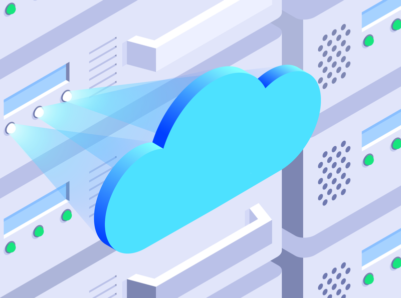 Cloud Migration - Solutions Brief migration cloud data projection rack server illustration isometric gradient illustrator vector