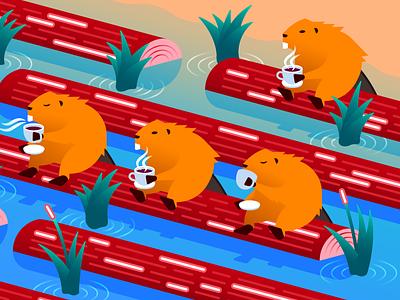 Java atop a Log programming language metrics traces apm monitoring busy river break coffee guide logging logs beaver illustration isometric gradient illustrator vector