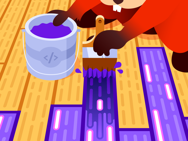 Datadog Log Rehydration™ flooring brush datadog code monitoring logging busy beavers logs hydrate paint stain perspective illustration gradient illustrator vector