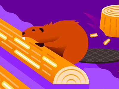 Logging with C# bite shore language programming logging logs carving chewing beaver river illustration gradient illustrator vector