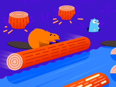 Logging with Go rolling logging log river gopher golang go chewing busy beaver perspective illustration gradient illustrator vector