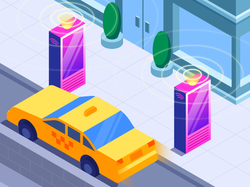 Internet of Things - Solutions Brief industry tech traces logs metrics data connected internet link nyc booth ticket taxi cab stop bus illustration isometric gradient illustrator