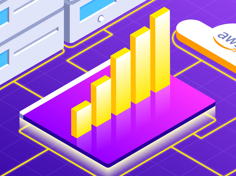 Hybrid Cloud Monitoring - Solution Brief industry logs traces metrics server monitoring amazon google microsoft gcp azure aws logo cloud tech illustration isometric stroke gradient illustrator