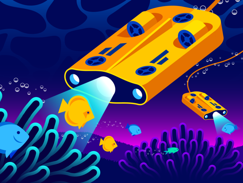 Istio / Datadog Editorial Illustration (Part 2) coral logs traces metrics wave bubbles light submersible reef fish monitoring istio illustration gradient illustrator vector