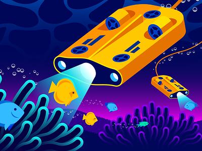 Istio / Datadog Editorial Illustration (Part 2) coral logs traces metrics wave bubbles light submersible reef fish monitoring istio illustration gradient illustrator vector