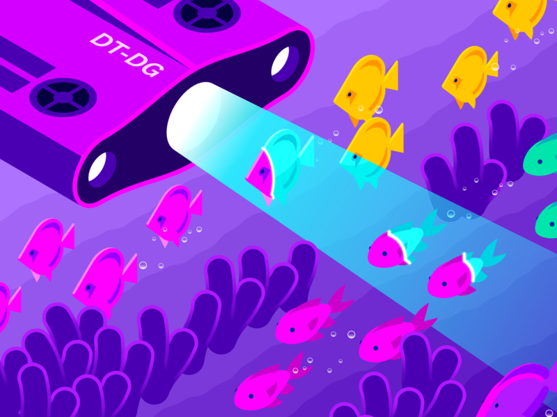 Istio / Datadog Editorial Illustration (Part 3) mesh service istio logs traces metrics submersible coral reef fish monitoring scan isometric illustration gradient illustrator vector