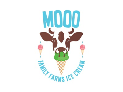 MOOO ice cream illustration vector icon branding logo dailylogochallenge 50daydesignchallenge illustrator design dailylogodesign