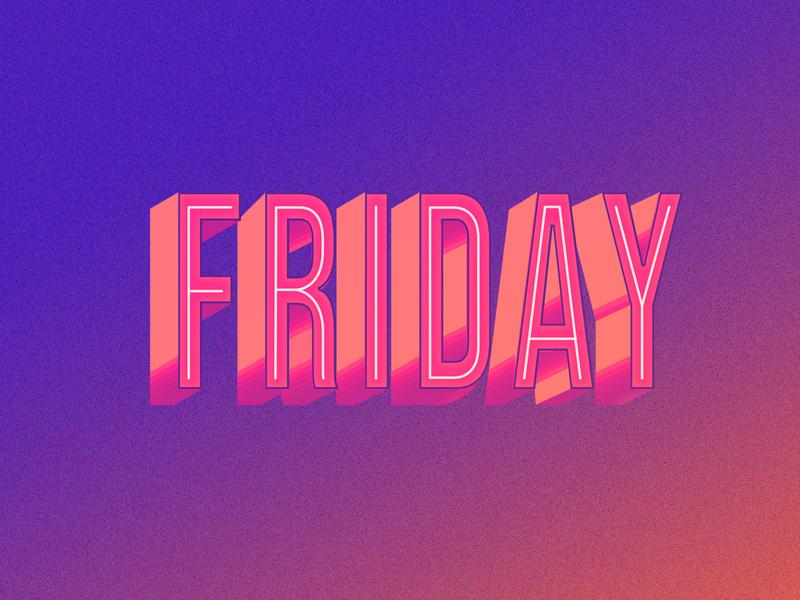 It's Friday! vecvtor poster design graphic design shiny depth shadow illustrator adobe photoshop gradient adobe illustrator adobe illustration typographyart typeposter type purple weekend friday typography