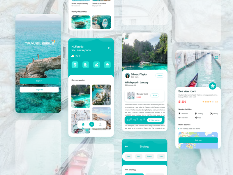Tourism application design ui